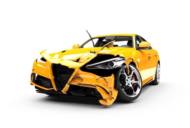 Yellow car crash on white Premium Photo