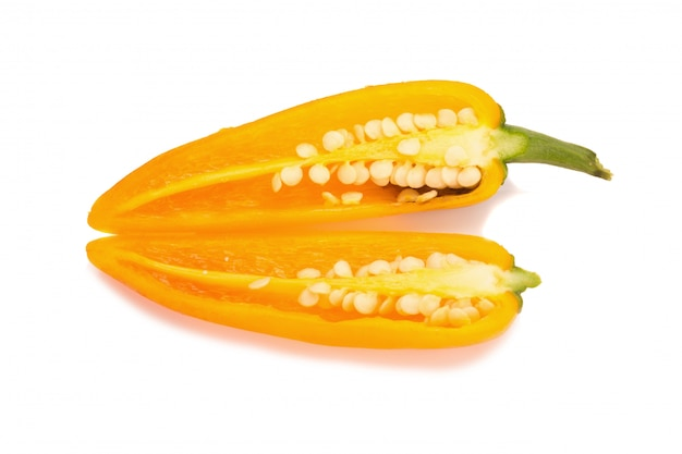 Yellow chili pepper isolated on white background Premium Photo