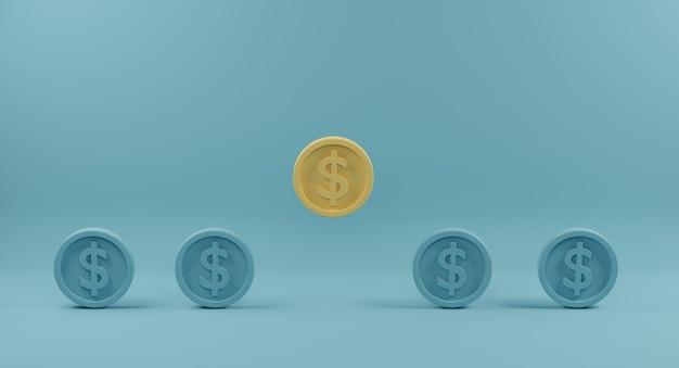 밝은 파란색 배경에 동일한 파란색 동료의 군중에서 밖으로 서 노란색 동전. 3d 렌더링. 프리미엄 사진