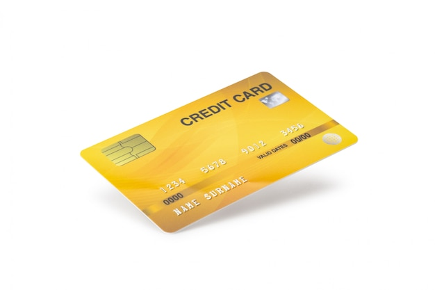 yellow credit card isolated on white background with