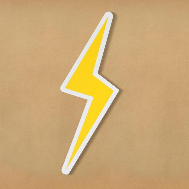 노란색 전기 번개 모양 아이콘 무료 사진