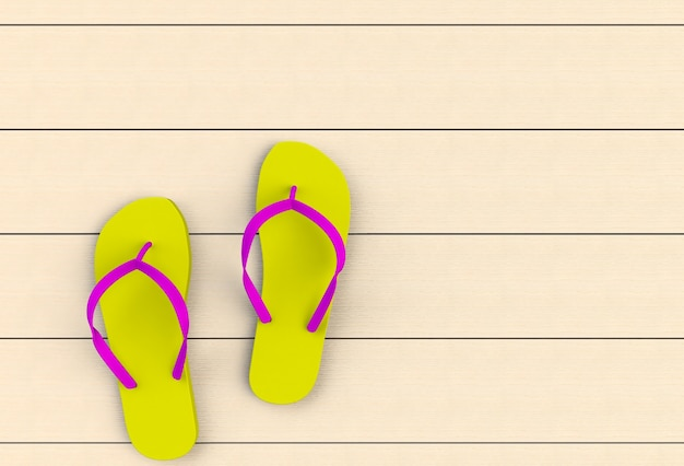 Yellow flip flops on wooden floor, 3d rendering Photo