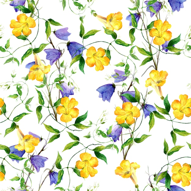 黄色の花とブルーベル。繰り返し花柄水彩画 Premium写真