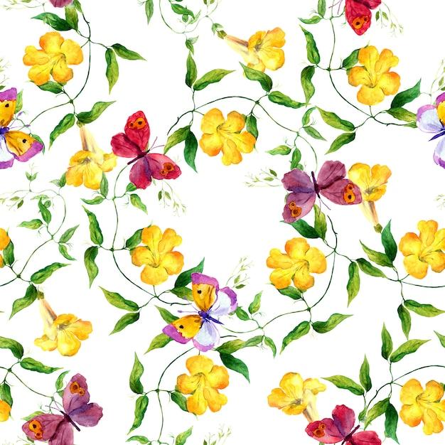 黄色の花と蝶。シームレスな花柄。水彩 Premium写真