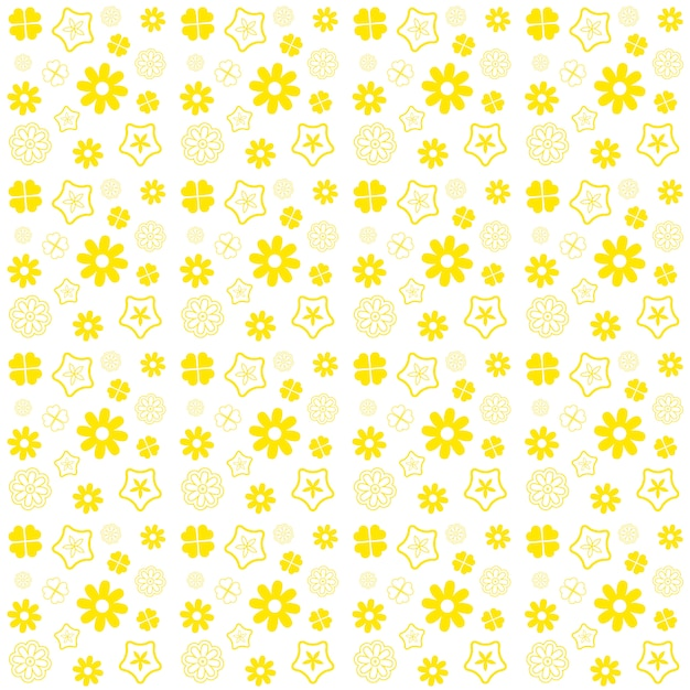 白い背景の上の黄色い花のシームレスパターン Premium写真