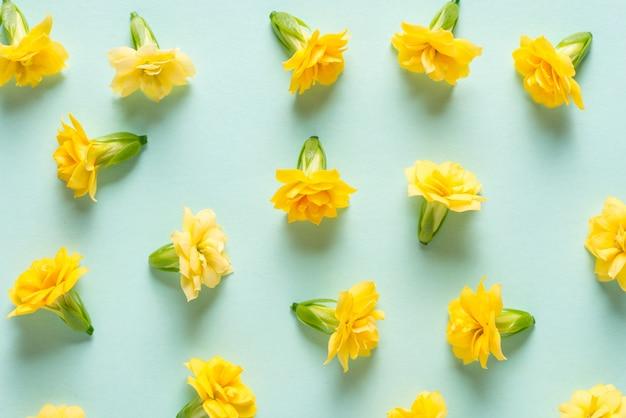 Желтые цветы бутоны на зеленом фоне мяты, текстура, узор Premium Фотографии