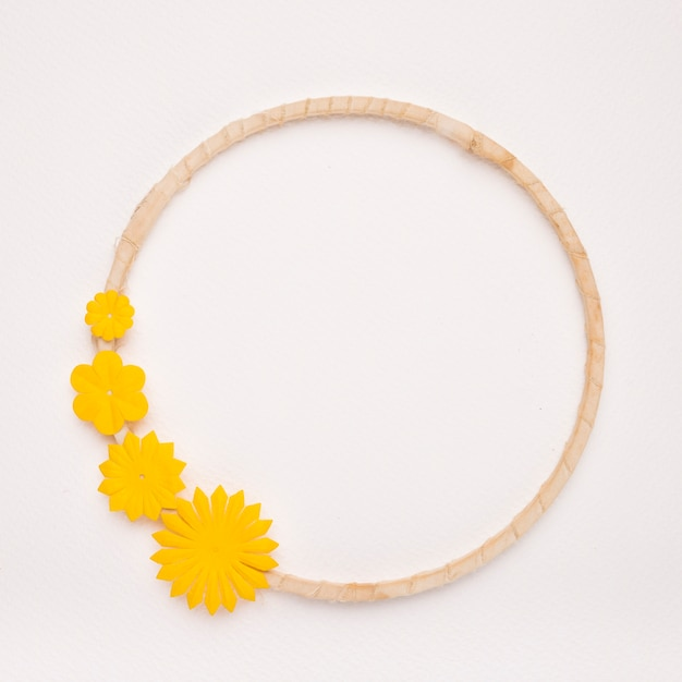 Yellow flowers on the circular frame border on white backdrop Free Photo