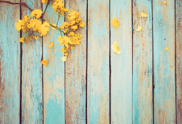 Yellow Flowers On Vintage Wooden Background Border Design