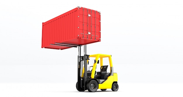 Yellow forklift truck with container on pallet shot on white background Premium Photo