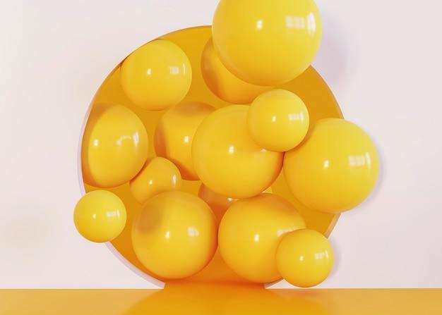 黄色の面白いボールの幾何学的形状の背景 Premium写真