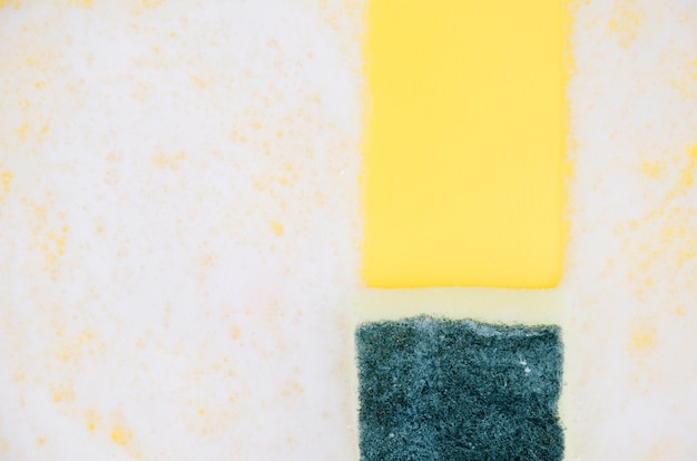 Yellow and green sponges on white soap sud Free Photo
