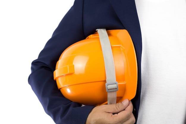 Yellow helmet,copy space. Premium Photo