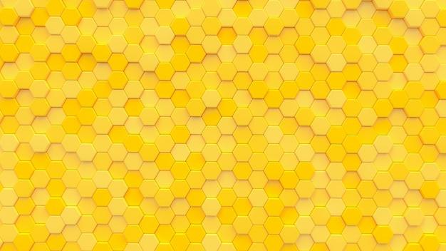 Yellow hexagon texture background. 3d render. Premium Photo