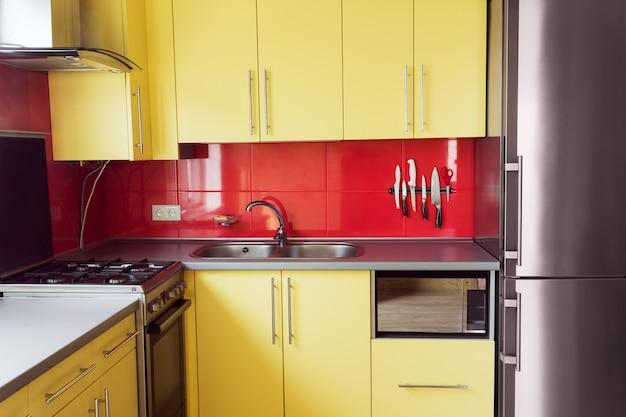 Yellow kitchen Premium Photo