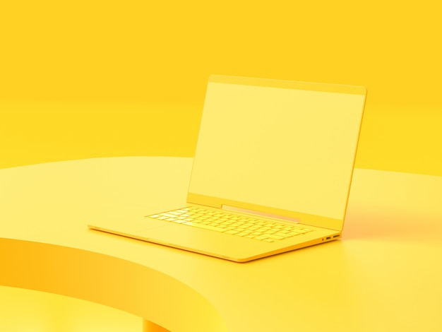Yellow laptop  on work desk Premium Photo