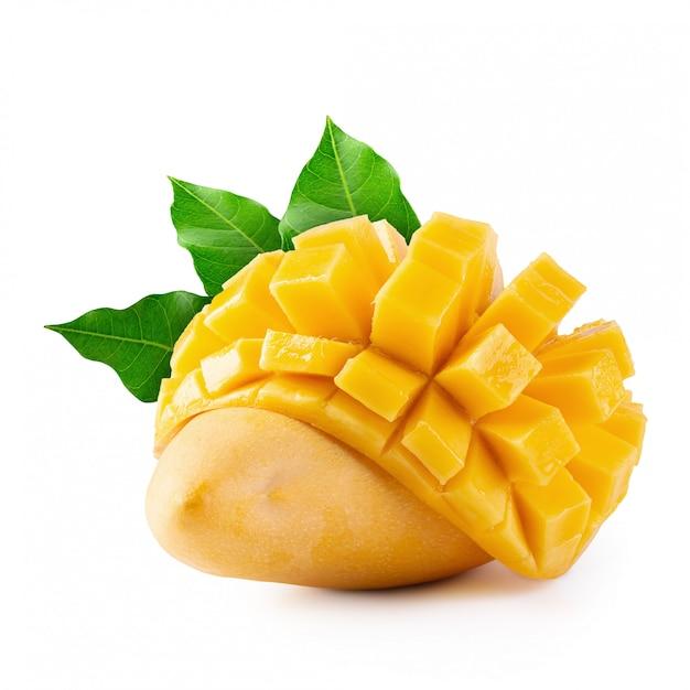 Yellow mango isolated on a white Premium Photo