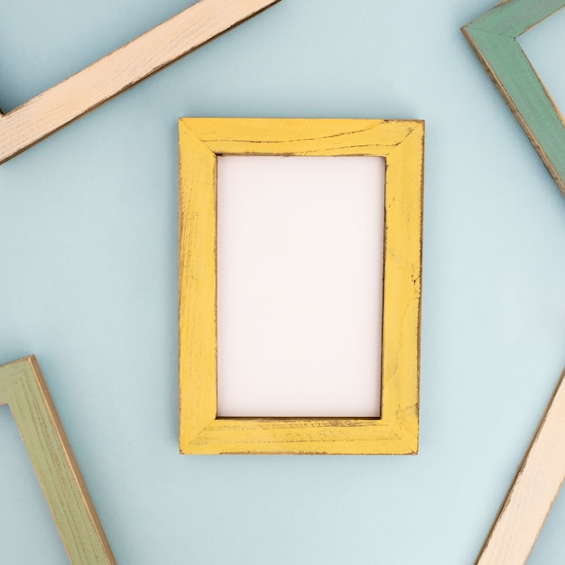Yellow modern frame on the  wall Free Photo