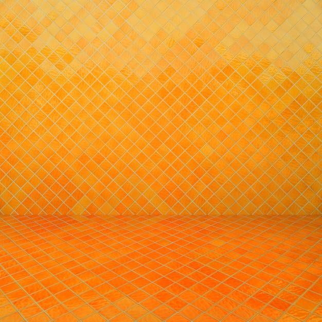 Yellow mosaic texture and background. Premium Photo