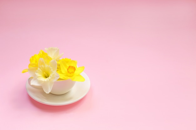 Yellow narcissus flowers in a cup. Premium Photo