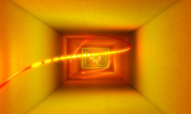 Yellow neon light abstract background Premium Photo