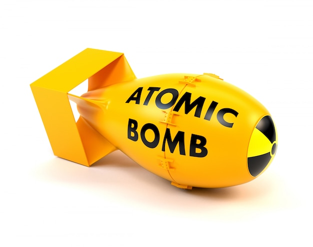 Yellow nuclear bomb isolated on a white background. Premium Photo
