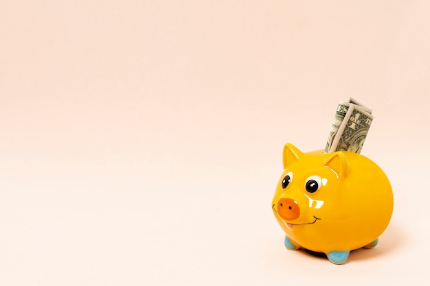 Yellow piggy bank with money and copy space background Free Photo