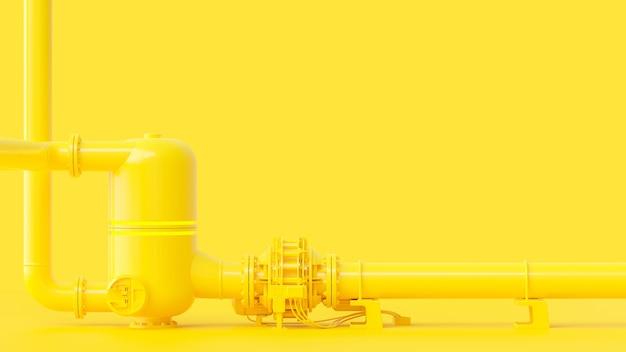 Желтый трубопровод, минимальная и энергетическая концепция. 3d визуализация. Premium Фотографии