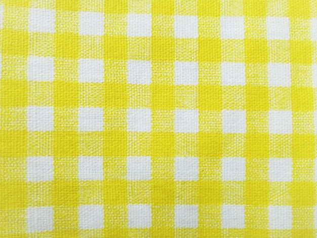 Yellow plaid fabric simple for the background. Premium Photo