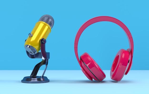 Желтый микрофон podcast и розовые наушники Premium Фотографии