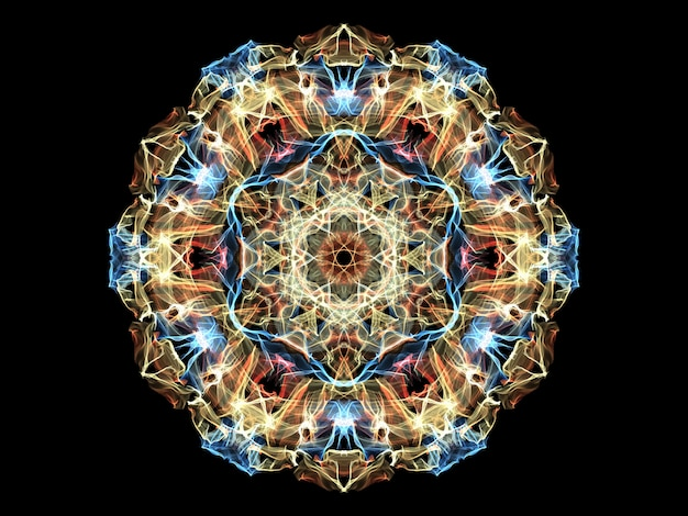 Yellow, red and blue abstract flame mandala flower Premium Photo