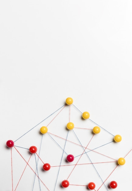 Yellow and red pushpin map Free Photo