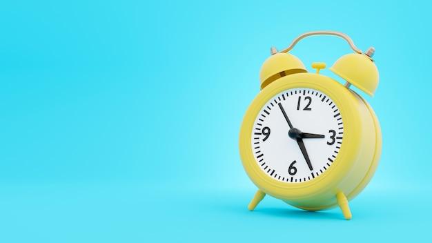 Желтый ретро-будильник в 3d-рендеринге Premium Фотографии