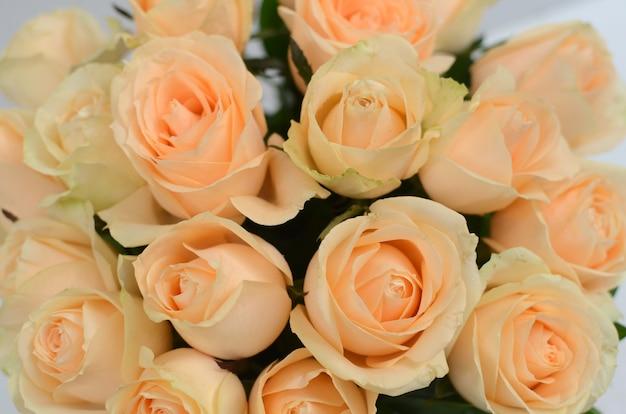 Yellow Rose Flower Arrangement On White Background Photo Premium