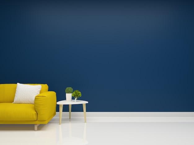 Yellow Sofa Deep Blue Wall Living Room Interior Photo Premium Download