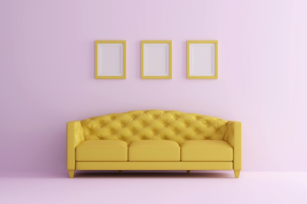 A yellow sofa in pink living room with picture frame. minimal style concept. Premium Photo