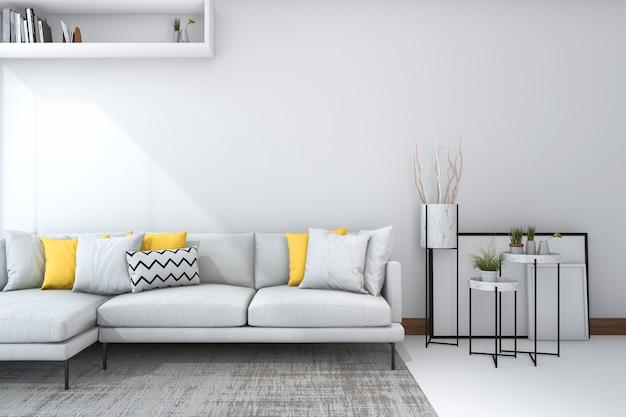Yellow sofa in white living room with beautiful decor Premium Photo
