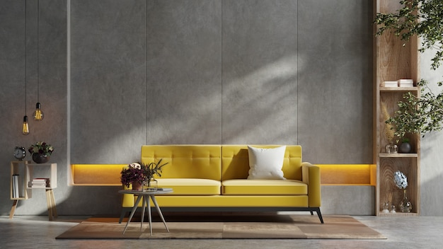 dark wall accent with yellow sofa ideas for living room