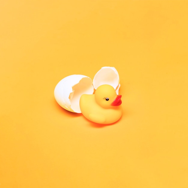 Yellow still life of bath duck and egg Free Photo