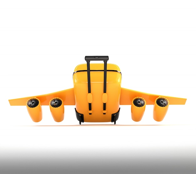 Yellow suitcase with wheels, wings and engines. Premium Photo