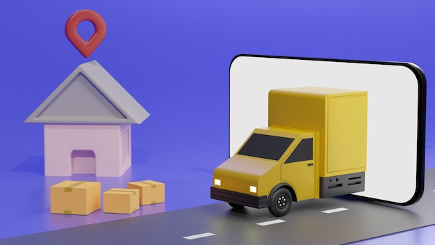 The yellow truck on the mobile phone screen, over blue background order delivery Premium Photo