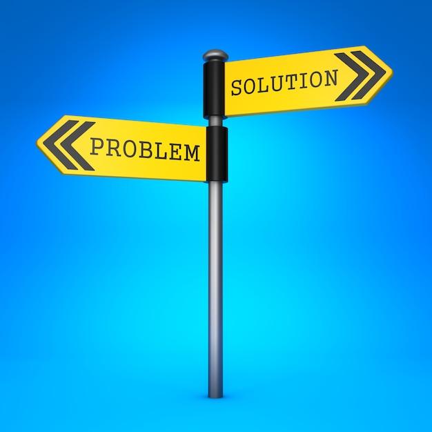 단어 문제 및 솔루션과 함께 노란색 양방향 방향 표지판. 선택의 개념. 프리미엄 사진