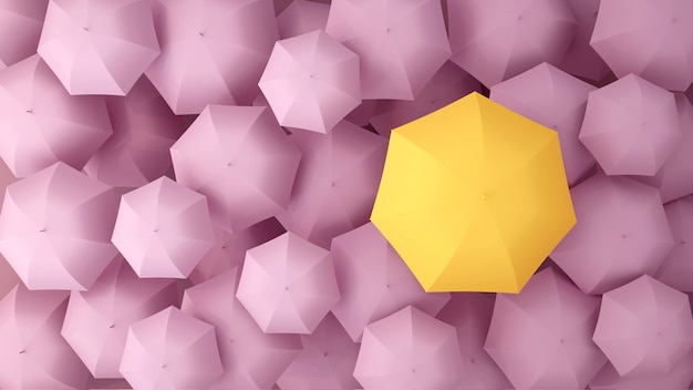 Yellow umbrella on the of many pink violet umbrellas. 3d illustration. Premium Photo