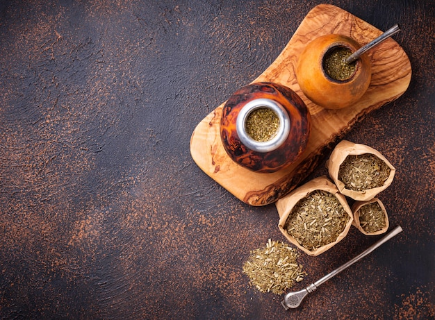 Yerba mate tea with calabash and bombilla. Premium Photo