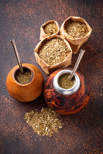 Yerba mate tea with calabash and bombilla Premium Photo