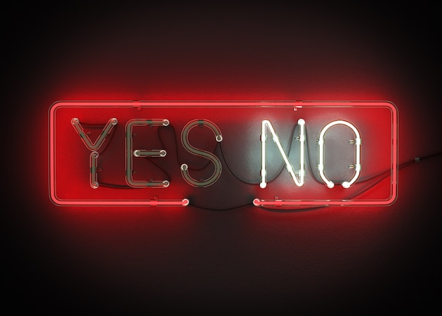 Yes Or No Sign Made From Neon Alphabet On A Black Background 3d
