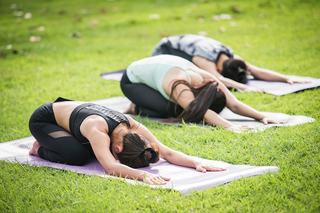 Yoga action exercise healthy in the park Free Photo