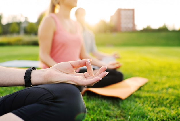 Yoga group on the background of green grass Premium Photo