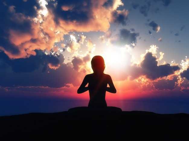 Yoga Silhouette With A Sunset Background Free Photo