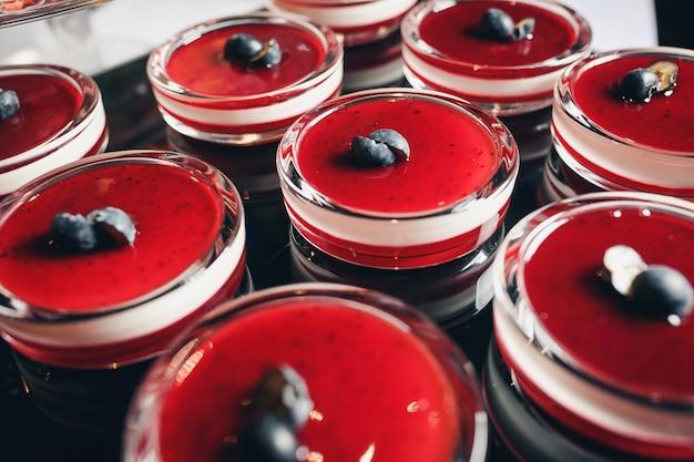 Yogurt dessert with berries. Premium Photo