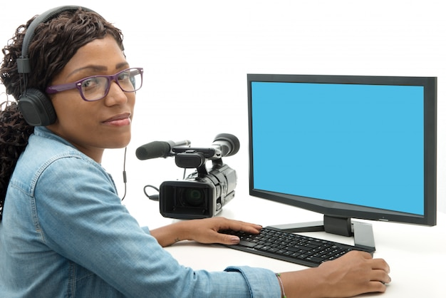 Young african american woman video editor Premium Photo